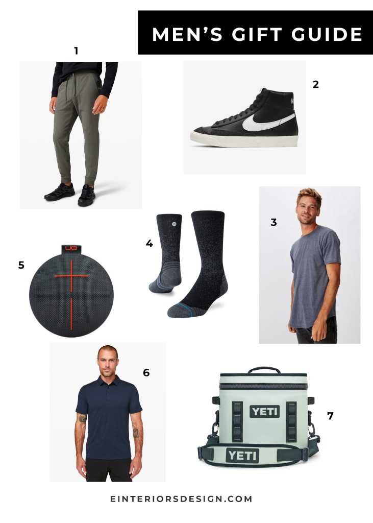 Men's Gift Ideas by popular US life and style blog, E. Interiors: collage image of jogger pants, t-shirt, nike high tops, stance socks, yeti cooler, polo shirt, and bluetooth speaker.