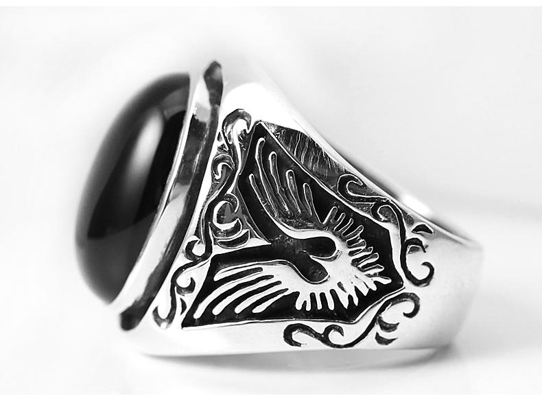 Silberring 925 mit schwarzem Onyx fr Mnner