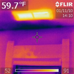 Cold air entering above window thermal image