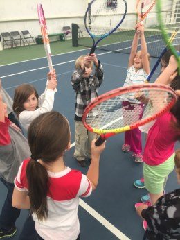 2nd graders get pumped for tennis with a cheer