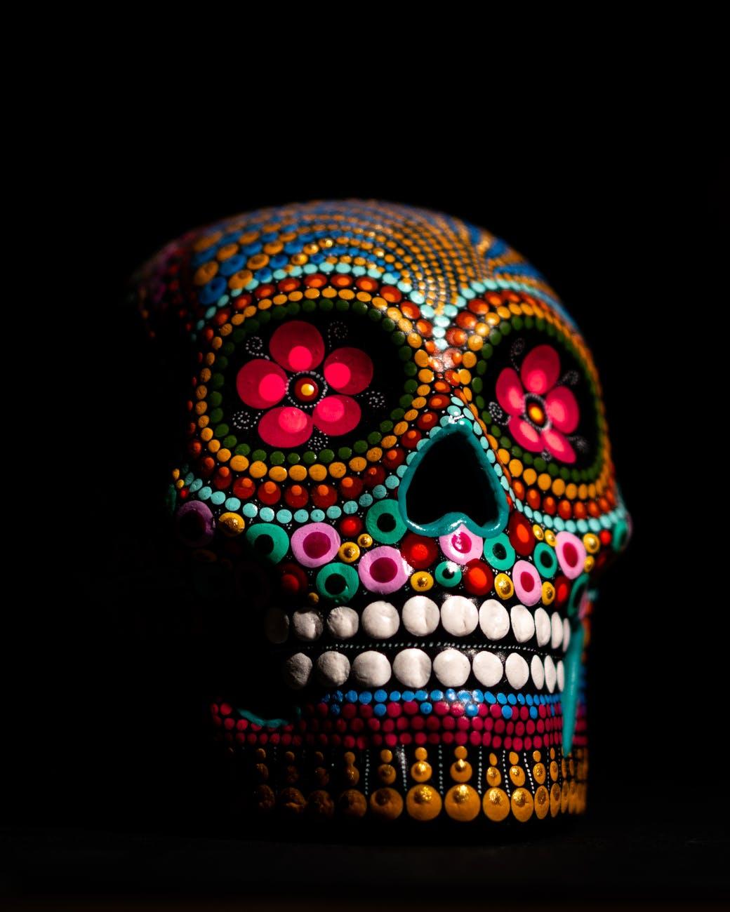 multicolored skull decor