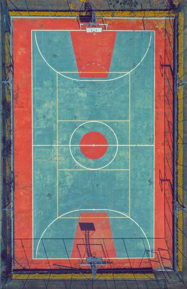 top view photo of basketball court