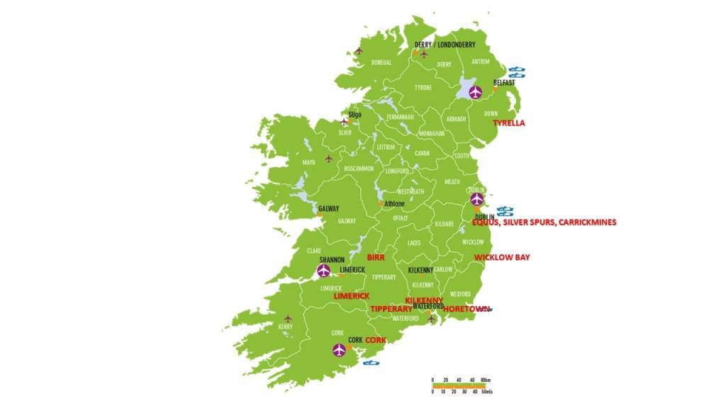 Irish Polocrosse Association Clubs Map