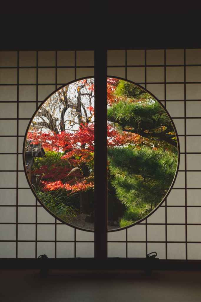 window in japanese style with view of autumn trees