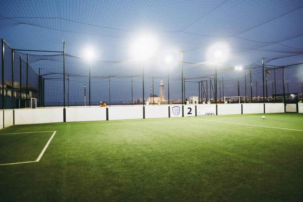 soccer field at nighttime