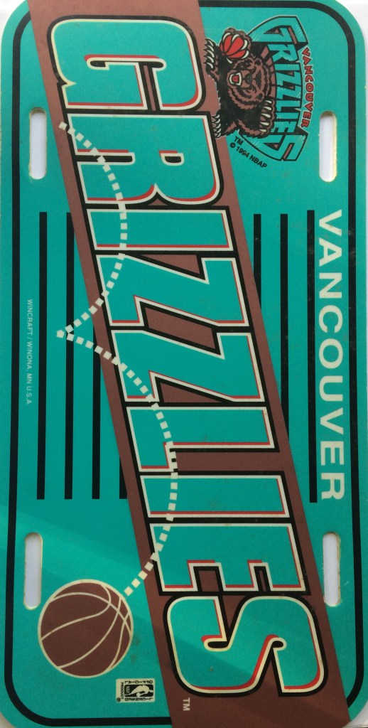 Vancouver Grizzlies NBA License Plate