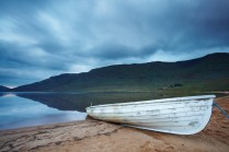 Fishing boat on shore of Lough Na Fooey