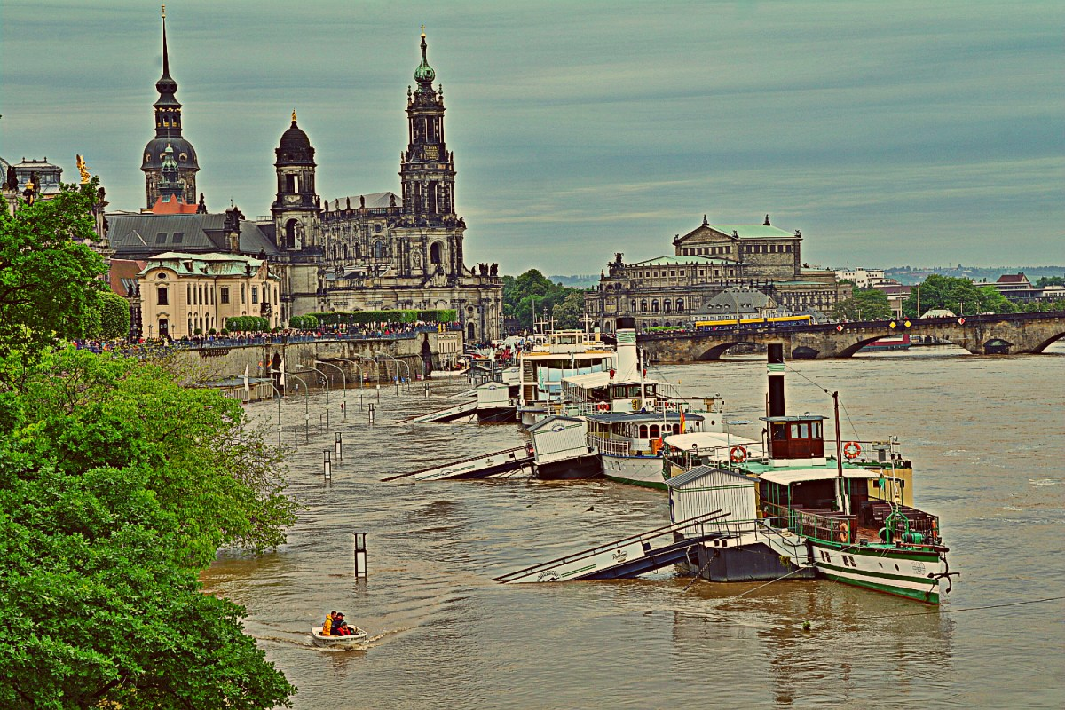 Hochwasser 2013 Rundgang an Weieritz und Elbe in Dresden