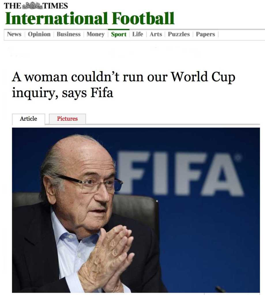 A woman couldn't run our World Cup