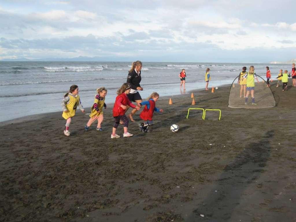 Eir Soccer Becca Todd kids practice beach football fairies14