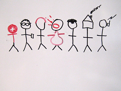 Stick figure drawing of a team of employees.