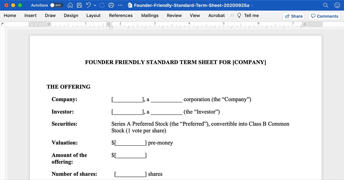 Screenshot of a standard startup investment agreement