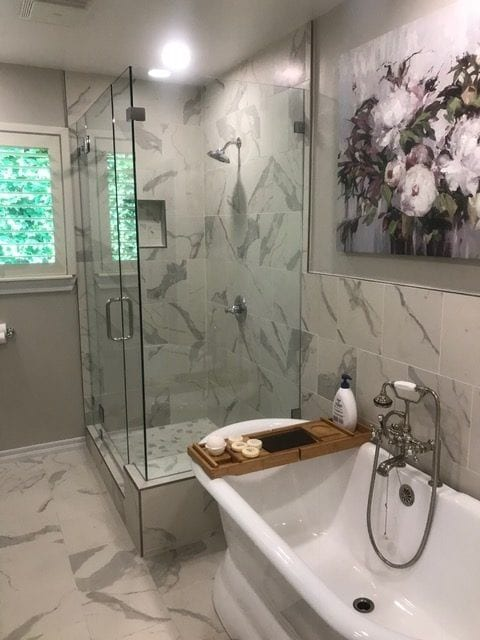 New tile floors, new tile shower walls, new shower glass, new stand alone tub, new fixtures, new paint, new granite counters, new vanity, new toilet.