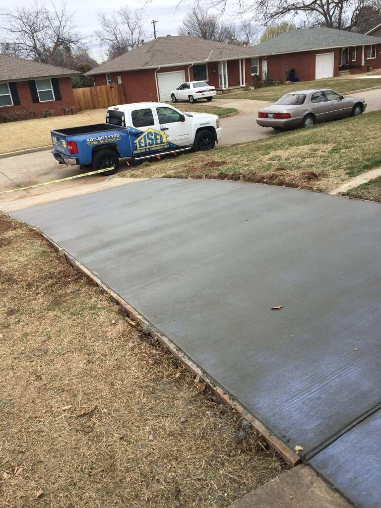 New concrete driveway.