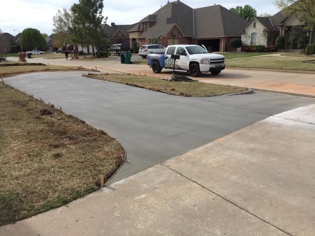 New concrete circle driveway.