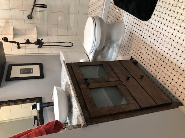 New tile, paint, vanity, granite, mirror, and glass.