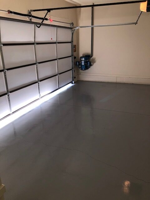 Drywall repair, new paint, grind floor, and sealer with paint additive