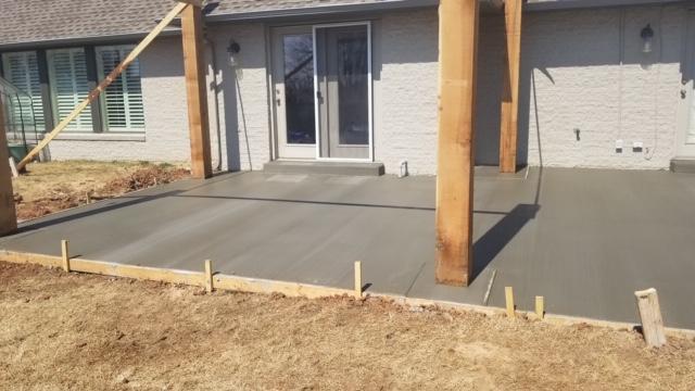 New concrete for cedar back patio.