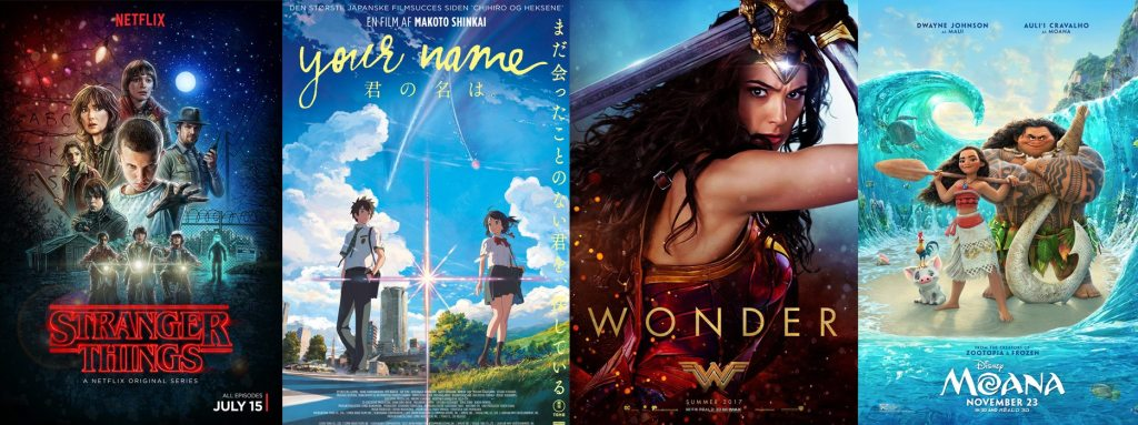 Stranger Things, Your Name, Wonder Woman, and Moana