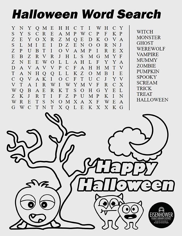 Halloween Word Search Printable Page
