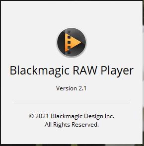 BlackmagicRAWPlayer2.1のアップデートが公開されました。