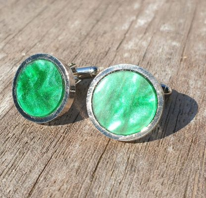 Mid Green, Marbled Opalescent Acrylic, Rhodium Plated Cufflinks