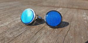 Blue, Marbled Acrylic, Rhodium Plated Cufflinks