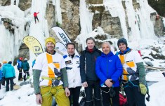 30.01.2016, Eispark, Matrei in Osttirol, AUT, 1. Osttirol Eis Festival, im Bild v.l.n.r. Matthias Wurzer, Franz Theurl, Silvester Wolsegger, Werner Frömel, Vittorio Messini // during 1st Osttirol Ice Festival at icepark in Matrei in Osttirol, Austria on 2016/01/30. EXPA Pictures © 2016 PhotoCredit: EXPA/ Michael Gruber