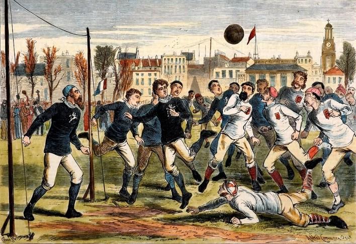 Representação de umas das primeiras partidas de futebol realizadas na Inglaterra