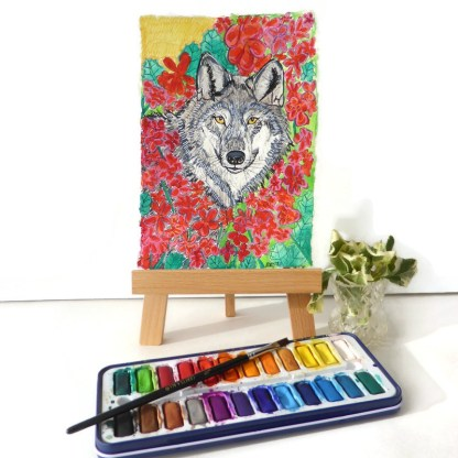 Wolf watercolour painting by Larryware
