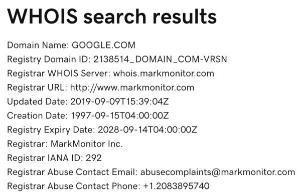 Google Whois Results