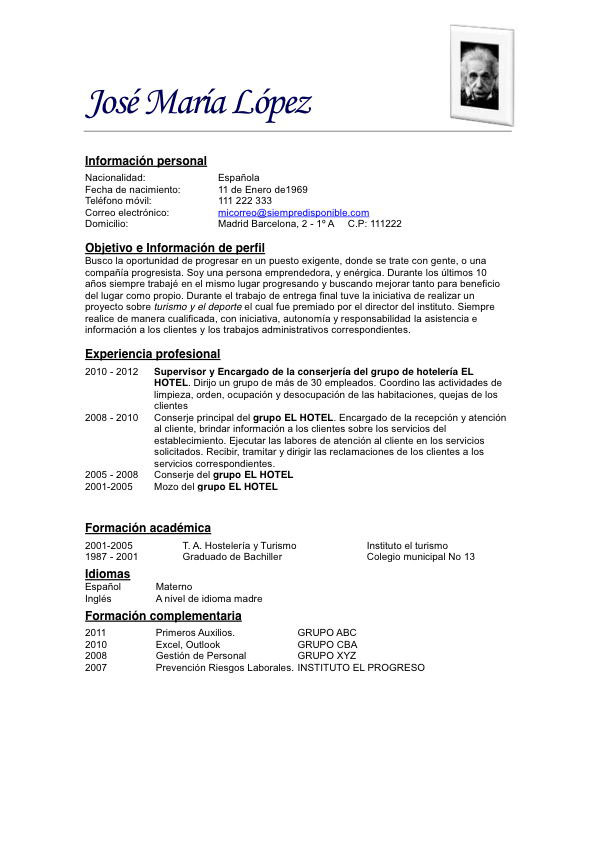 Modelo De Curriculum Vitae Simple Con Perfil How To Write A Resume