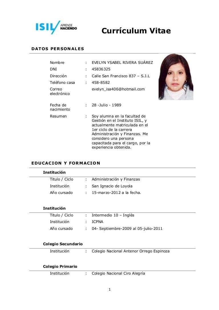 Formato De Curriculum Vitae Para Auxiliar De Enfermeria Sample