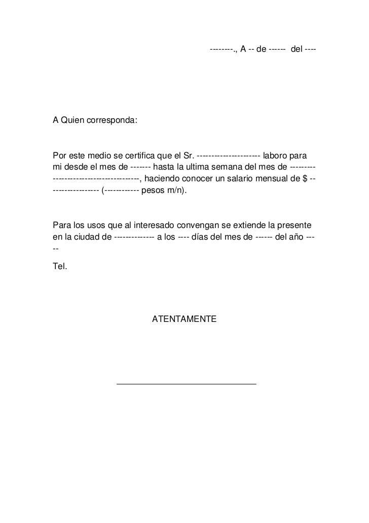 carta de referencias personales