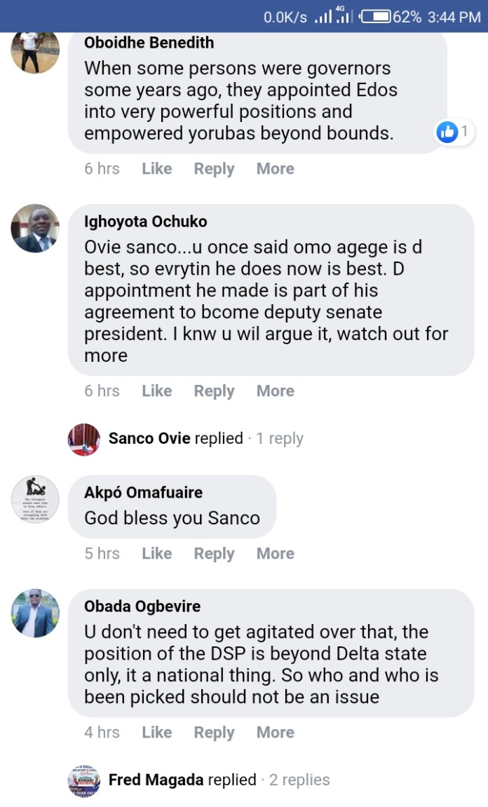 Deltans Reacts As DSP Ovie Omo-Agege Appointments a Yoruba Man among Top Aides