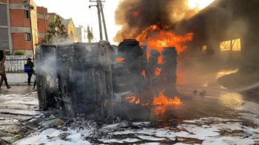 1 dead as petrol tanker guts fire at Obalende