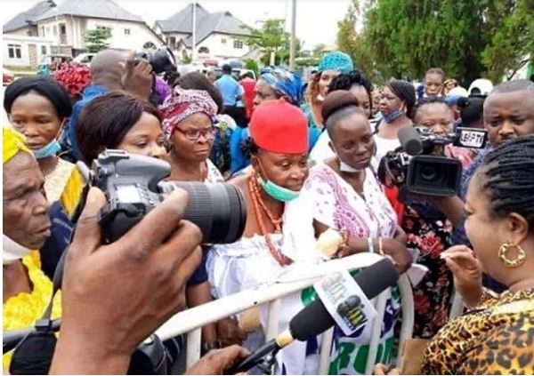 Women in Delta Protest Against Regina Daniels' Husband, Ned Nwoko, Accuse Him Of Stealing Their Lands