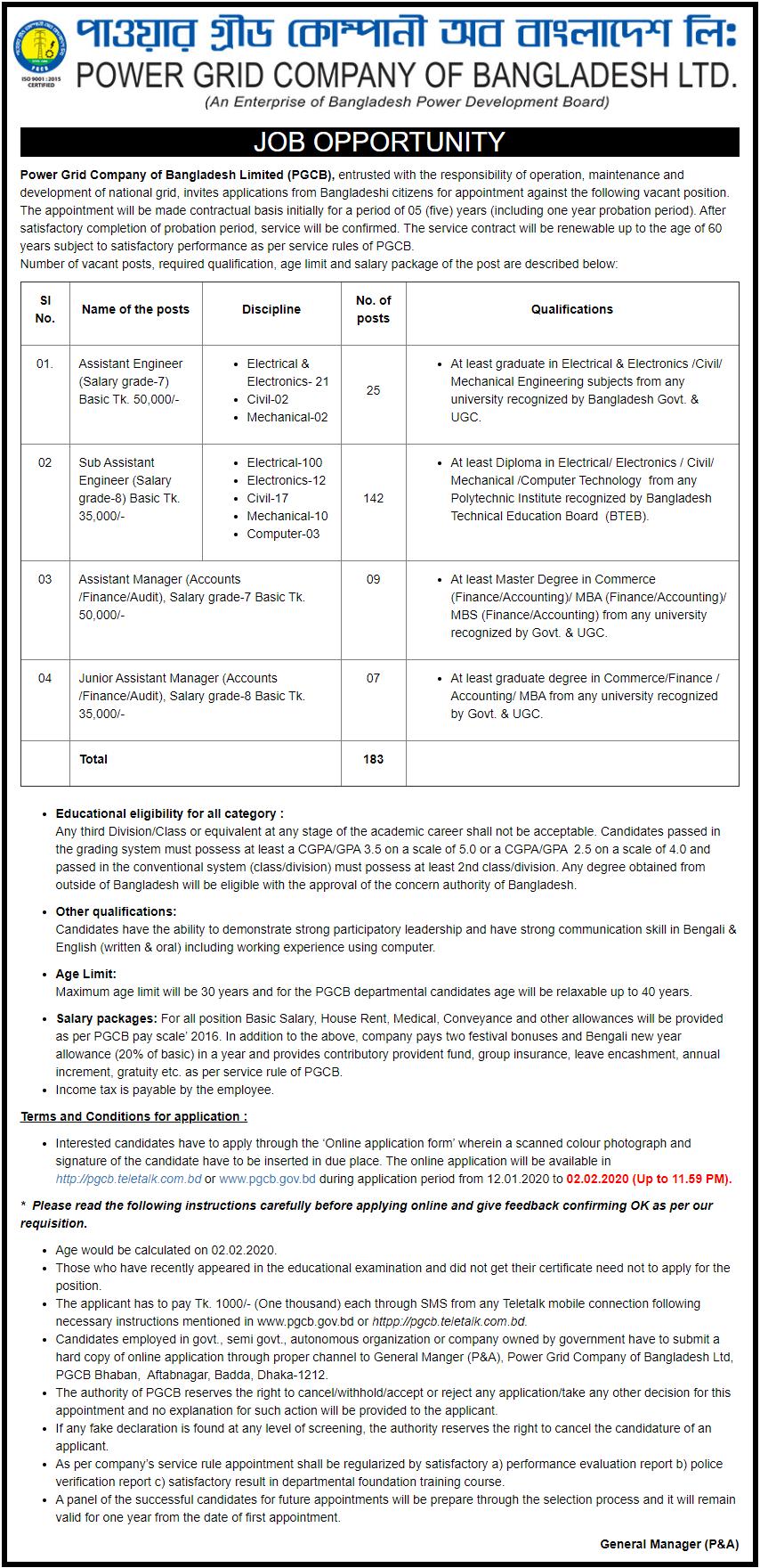 PGCB Job Circular 2020