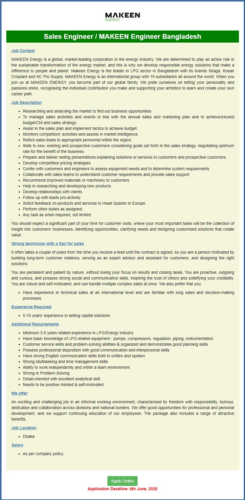 MAKEEN Energy BD Ltd Job Circular