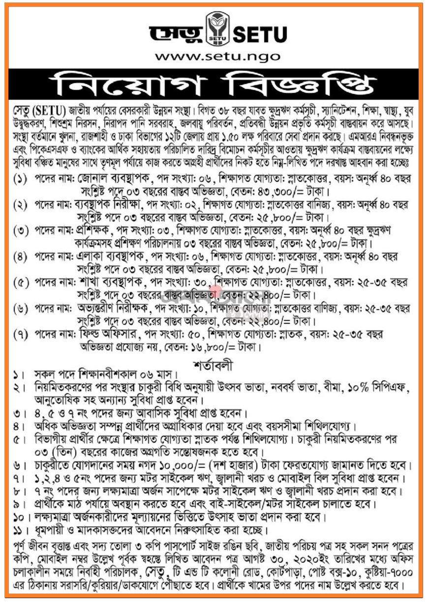 SETU Job Circular in 2020