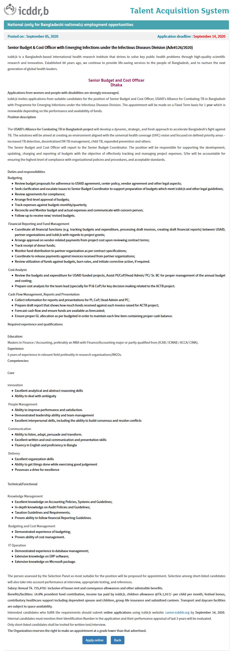 ICDDRB Job Circular Apply 2020 - icddrb.org