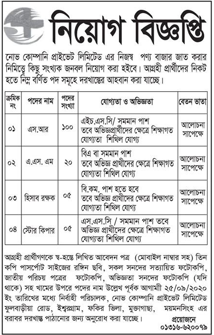 Nova Company Pvt Ltd job circular