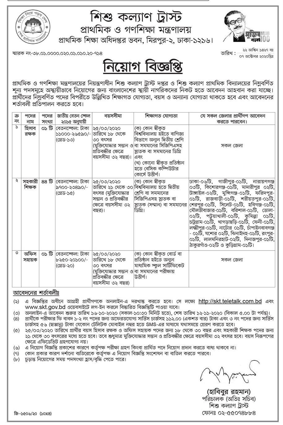 Shishu Kallyan Trust SKT Job Circular 2020