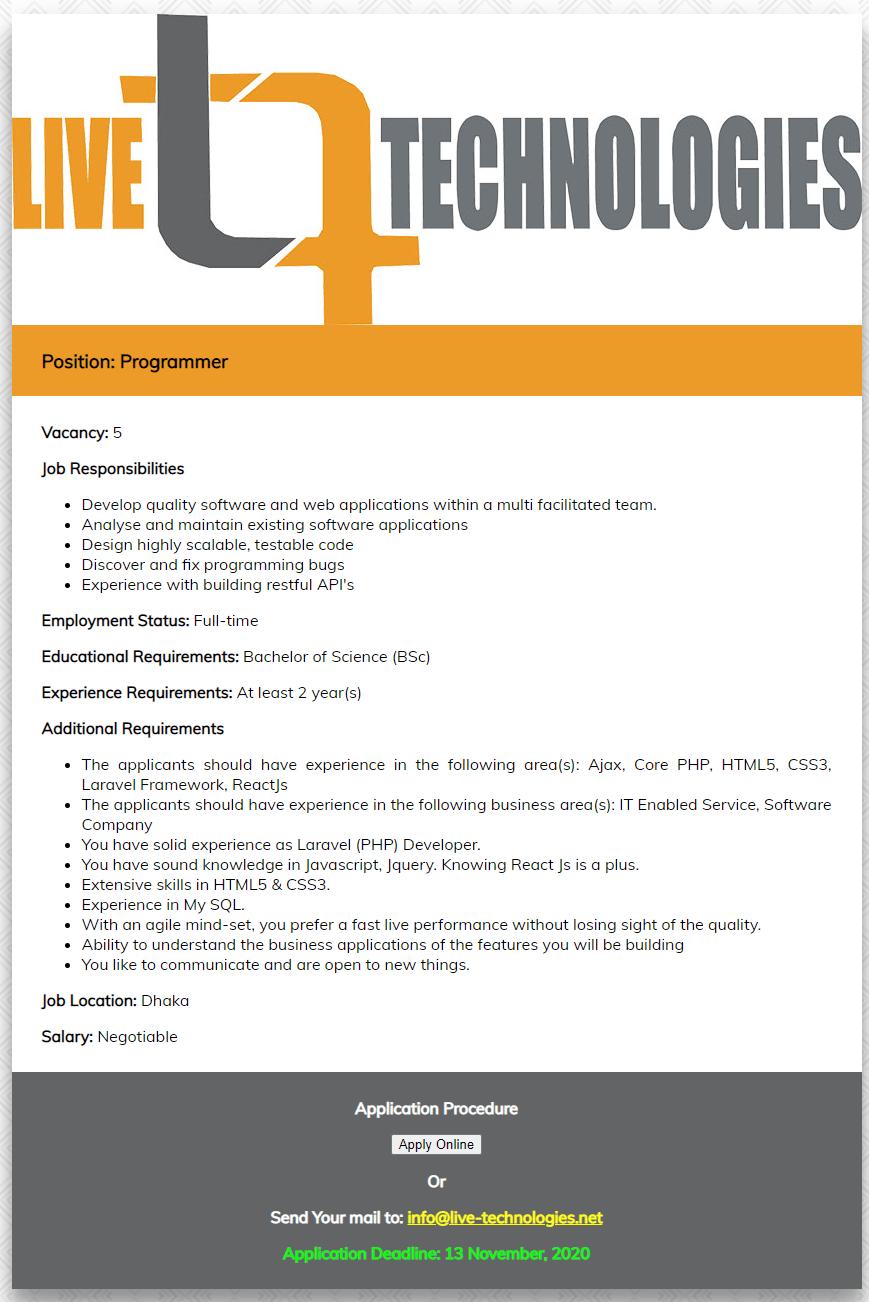 Live Technologies Ltd Job Circular