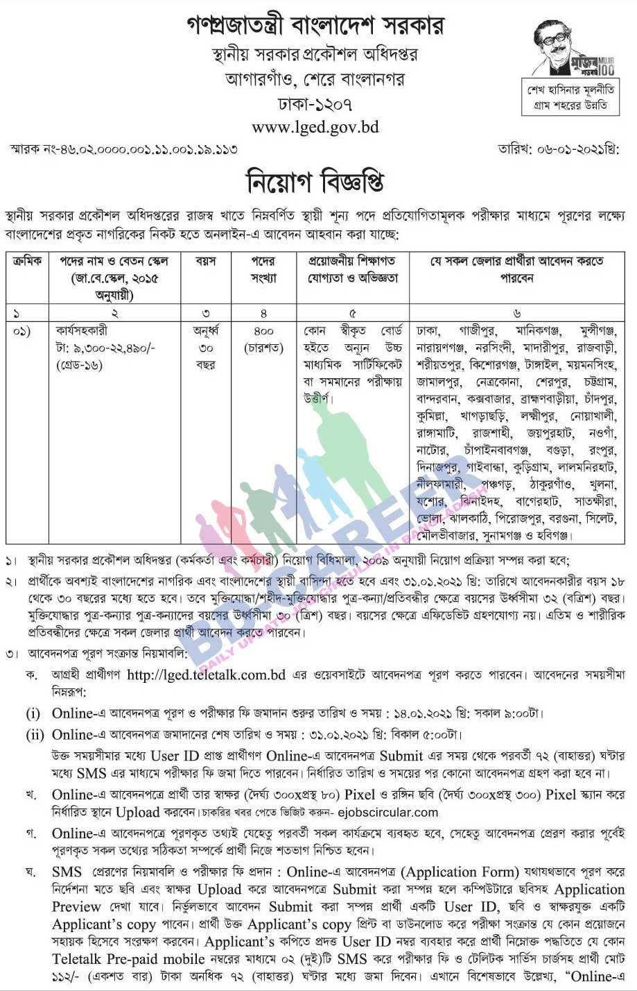 LGED Teletalk 2021 - lged.teletalk.com.bd