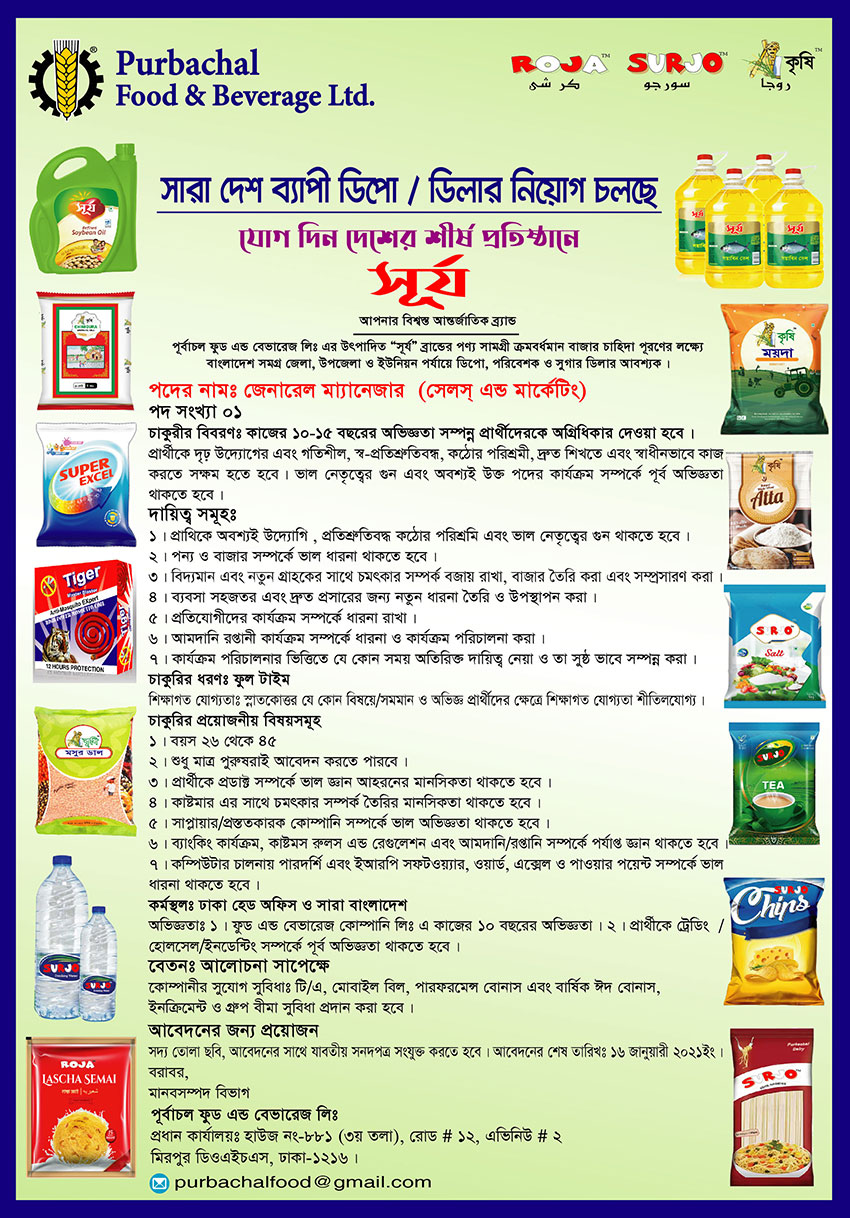 Purbachal Food Beverage Ltd Job Circular