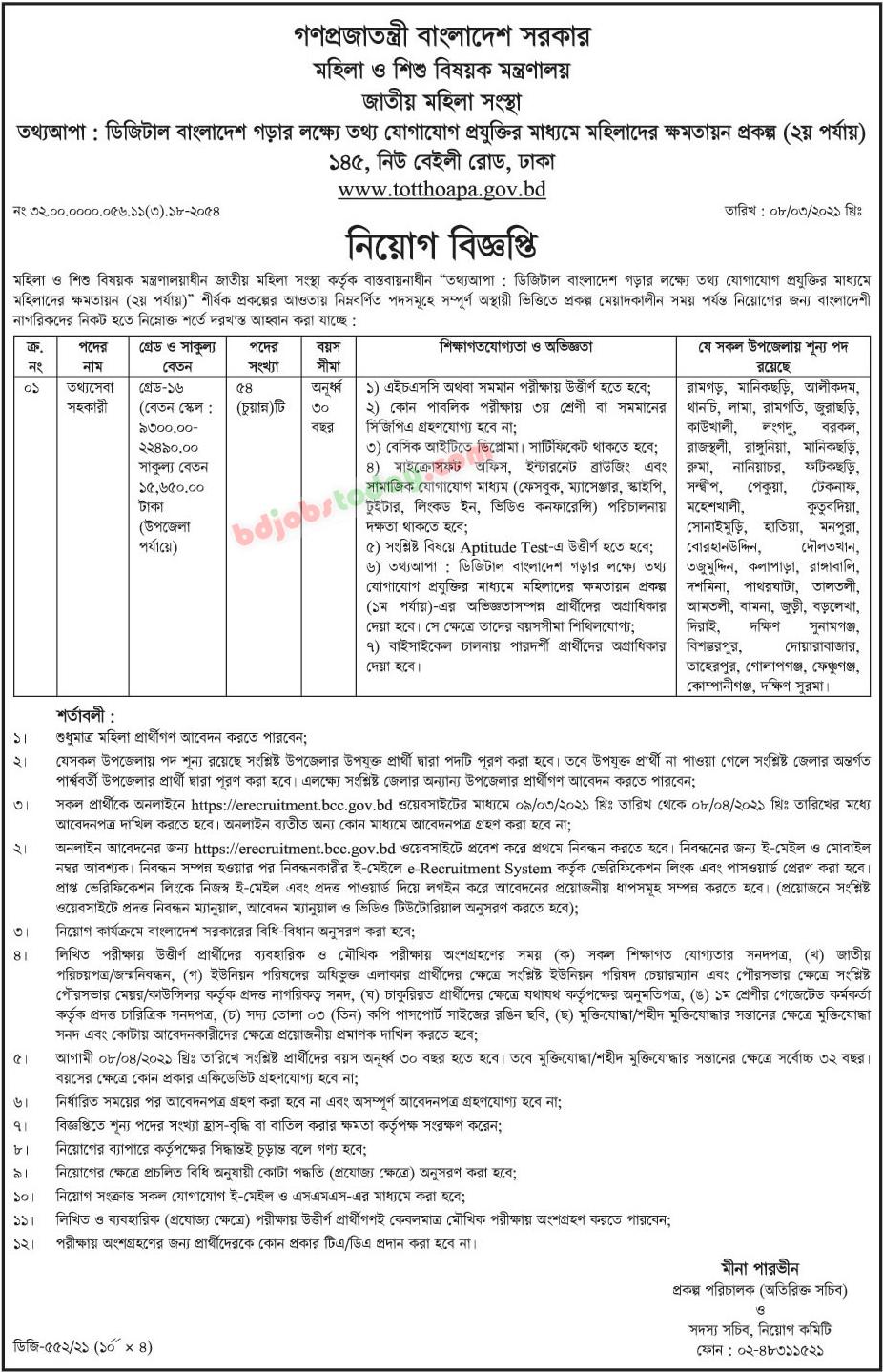 Totthoapa Job Circular Apply 2021