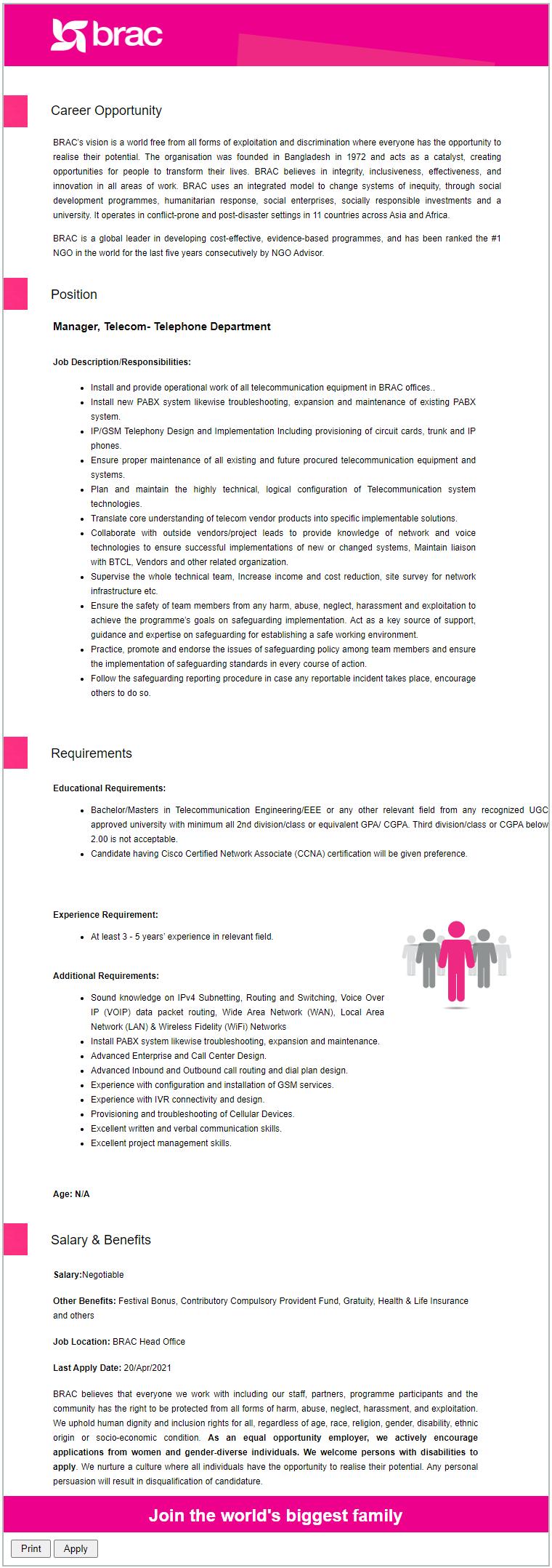 BRAC NGO Job Circular 2021