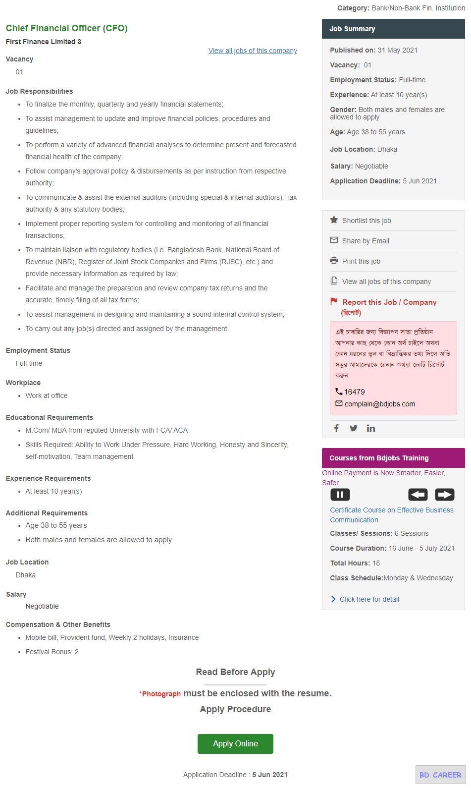Chief Financial Officer (CFO) _ First Finance Limited II Bdjobs_com