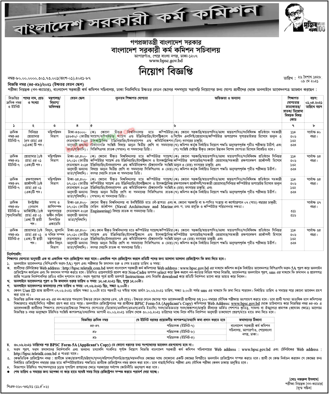 Image of the BPSC 2021 employment circular / PDF download